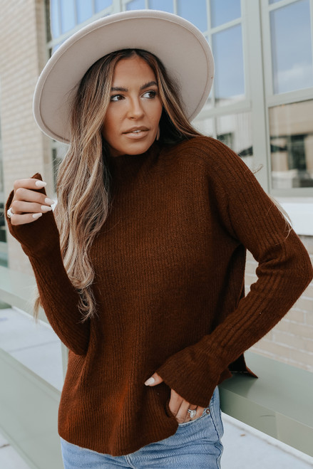 Mock Neck Brown Ribbed Detail Sweater