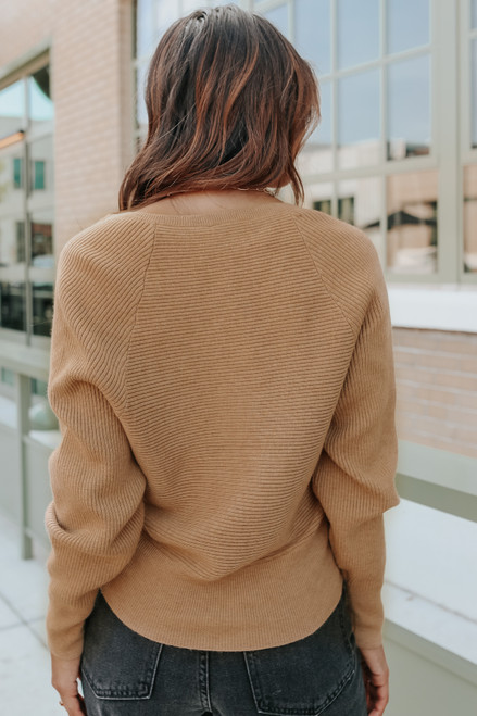 Sweet Temptation Cross Front Camel Ribbed Sweater