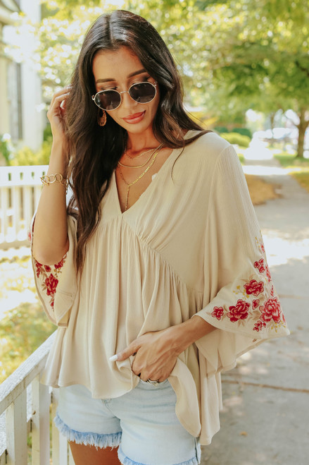 V-Neck Bell Sleeve Taupe Embroidered Top
