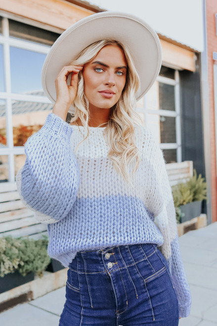 Cloudy Day Periwinkle Colorblock Sweater