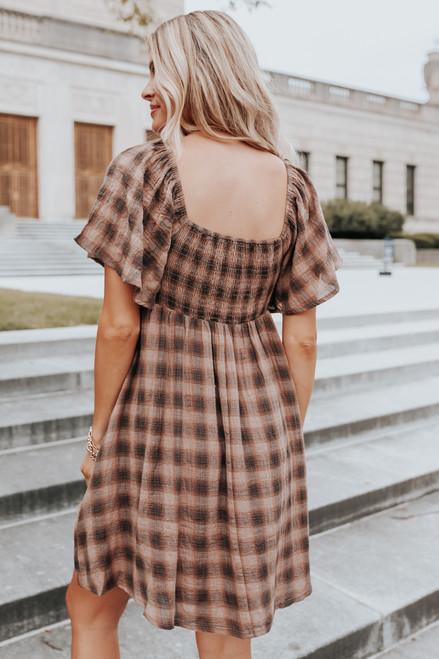 Square Neck Mocha Plaid Babydoll Dress