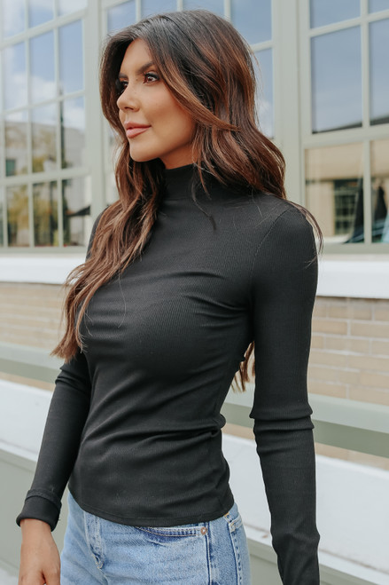 Last Call Mock Neck Ribbed Top