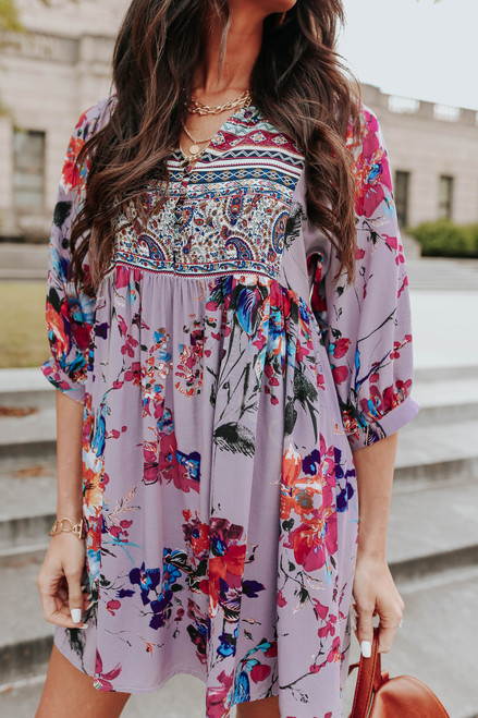 Button Down Mixed Floral Babydoll Dress