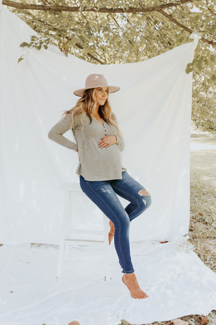 Henley Soft Brushed Taupe Babydoll Top