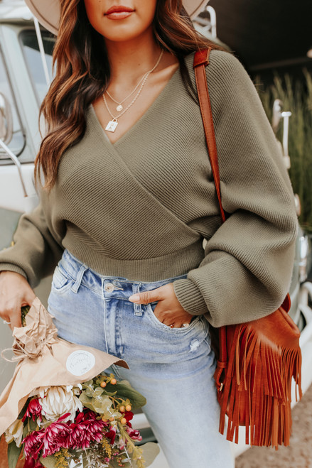 Cross Front Olive Dolman Ribbed Sweater