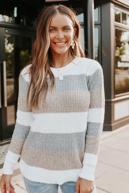 Woodland Cottage Neutral Colorblock Sweater