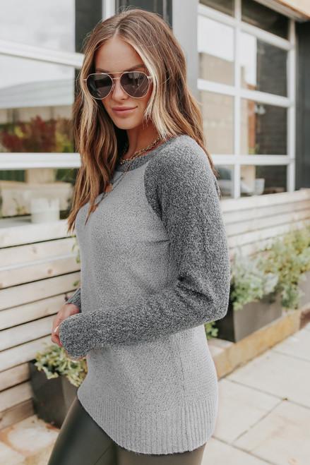 Two Tone Raglan Grey Colorblock Sweater