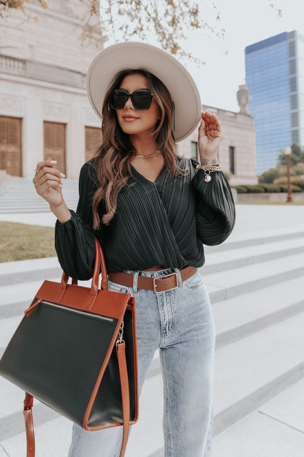 Heading Out Surplice Black Pleated Top
