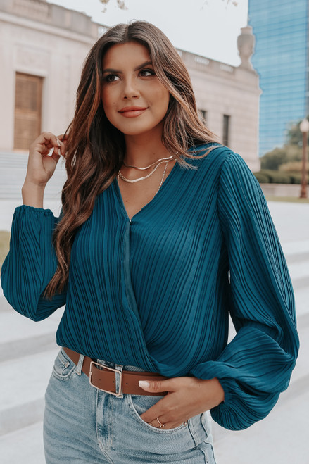 Heading Out Surplice Teal Pleated Top