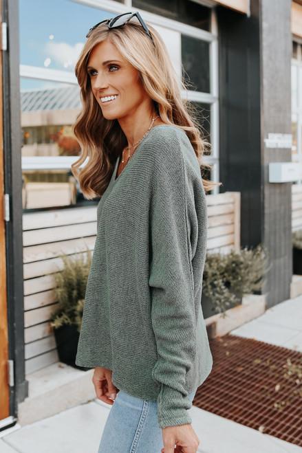 V-Neck Dolman Olive Lightweight Sweater