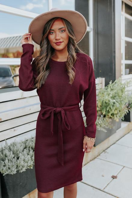 Tuscany Tie Waist Wine Sweater Dress