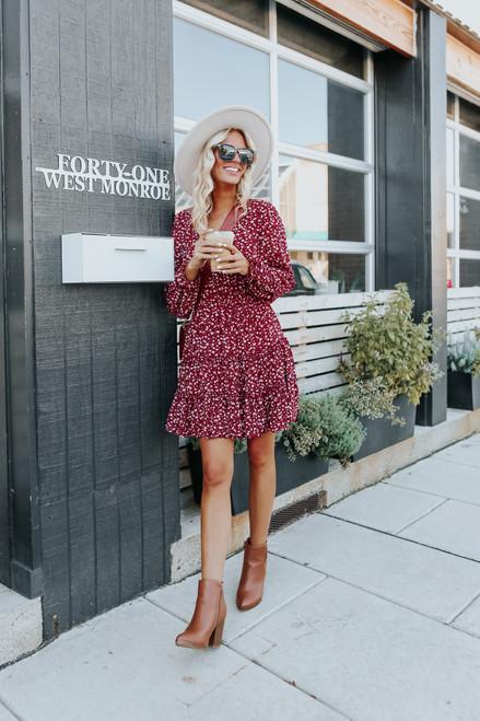 V-Neck Burgundy Floral Ruffle Hem Dress