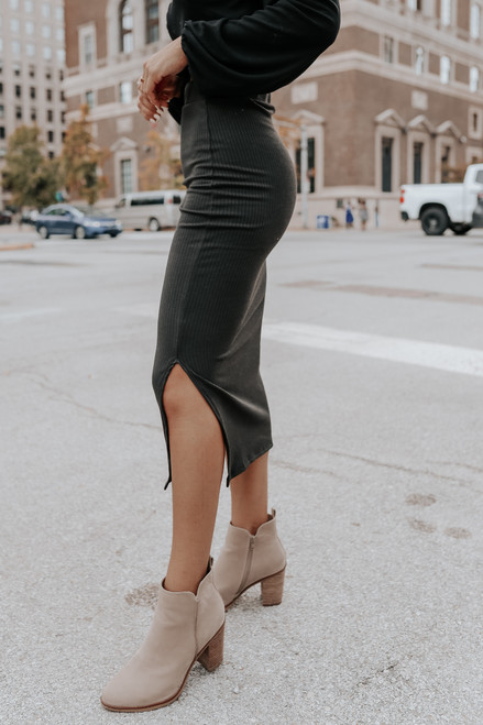 Carlisle Black Ribbed Slit Midi Skirt