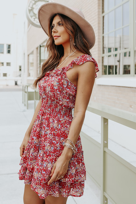Square Neck Ruffle Red Floral Dress