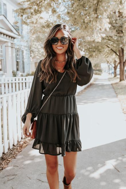 Guest List V-Neck Black Tiered Dress