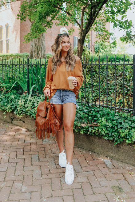 Coffee Break Soft Brushed Camel Pullover
