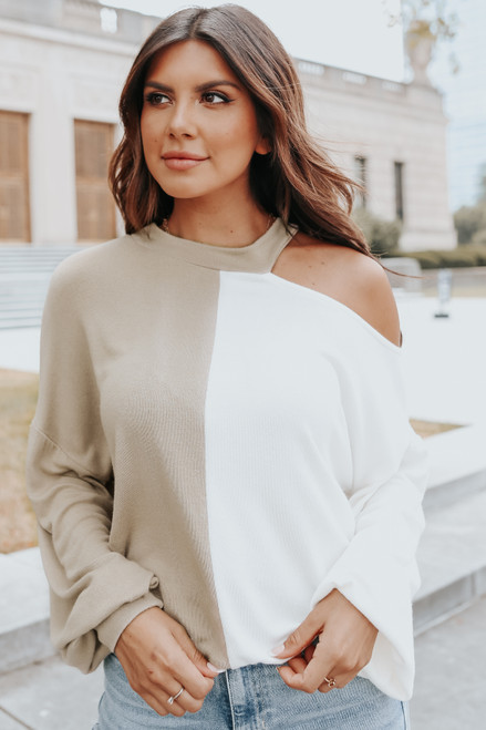Cutout Colorblock Soft Brushed Top