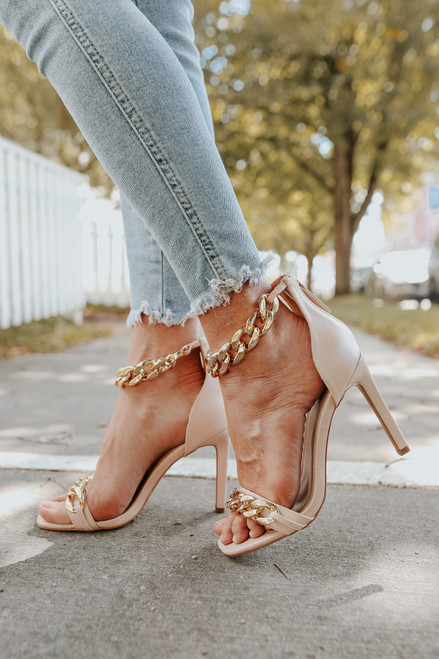 Faux Leather Chain Detail Nude Heels