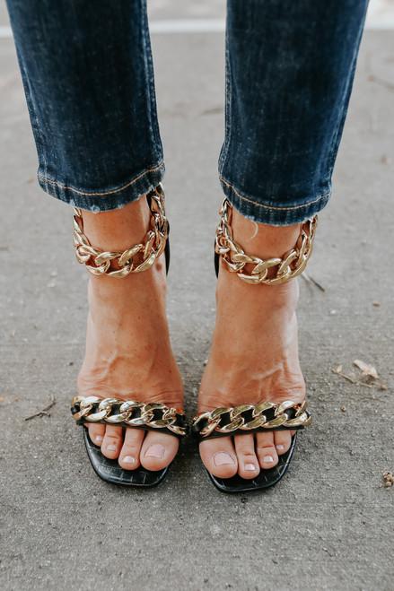Faux Leather Chain Detail Black Heels
