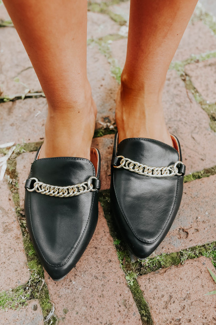 Faux Leather Chain Link Black Mules