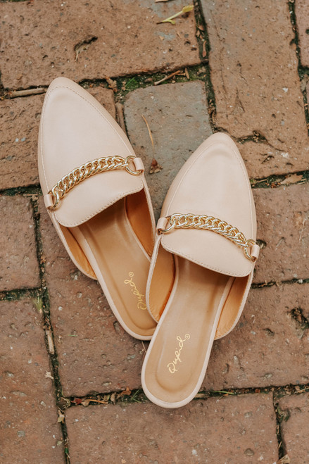 Faux Leather Chain Link Toffee Mules