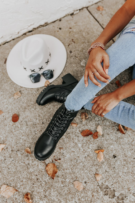 Faux Leather Lace Up Black Quilted Booties