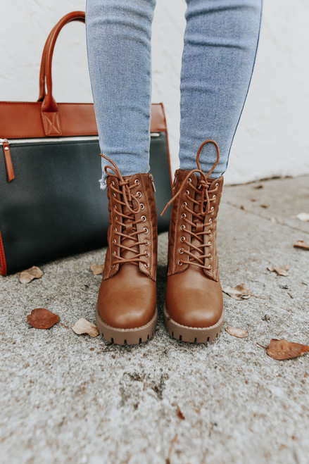 Faux Leather Lace Up Tan Quilted Booties