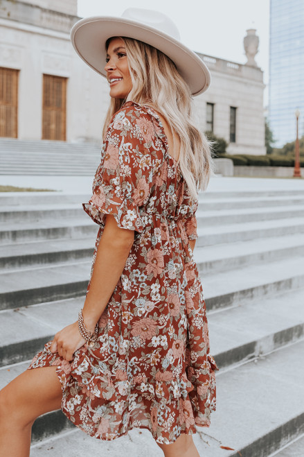 Square Neck Puff Sleeve Brown Floral Dress