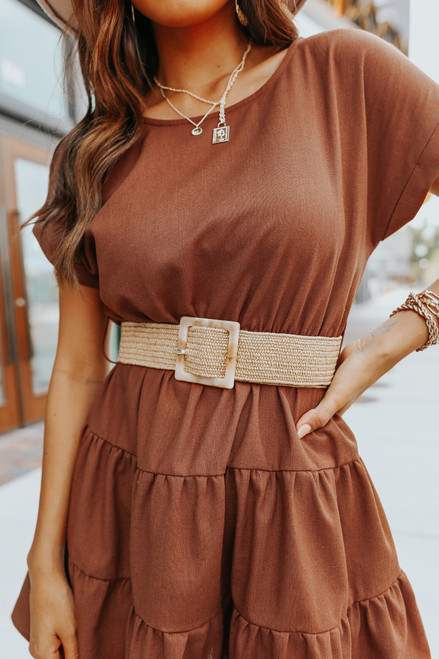 Short Sleeve Belted Brown Tiered Dress