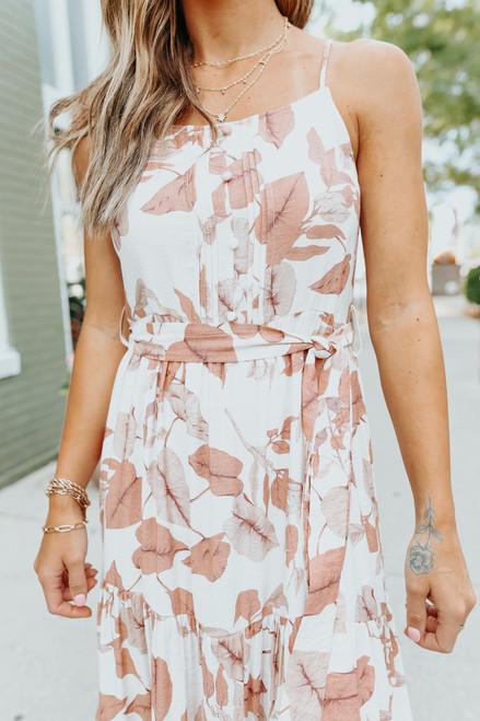 Tie Waist Sienna Floral Tiered Midi Dress