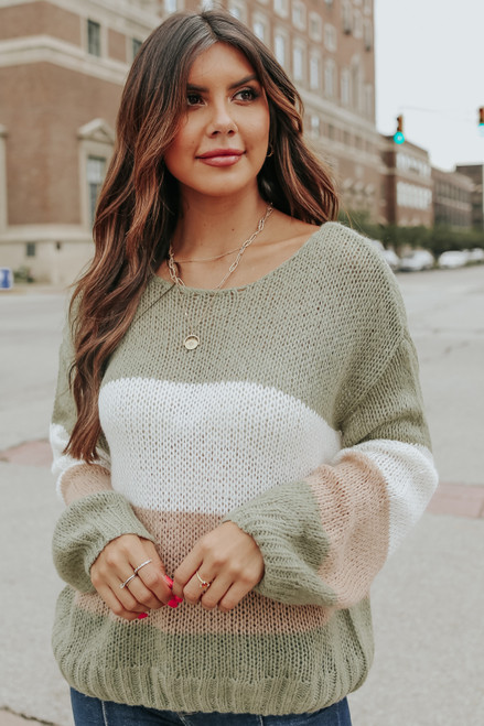 Beach Cottage Olive Colorblock Sweater