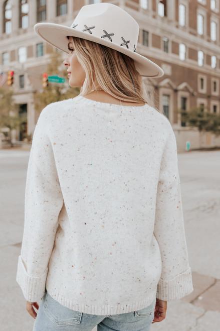 Seam Detail Ivory Confetti Sweater