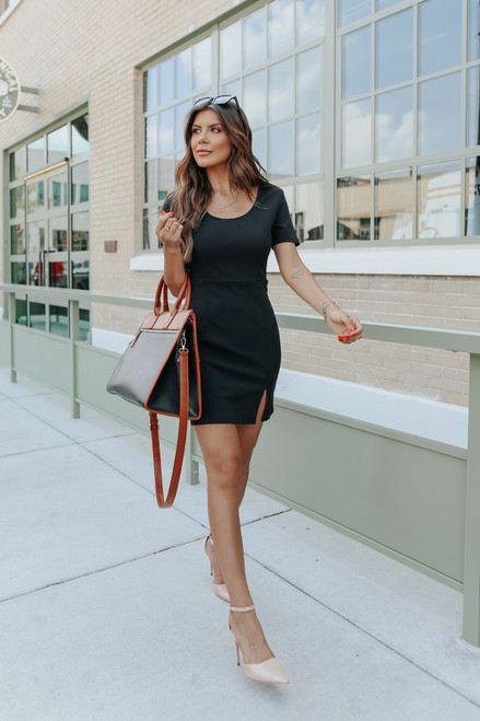 Instant Icon Short Sleeve Black Bodycon Dress