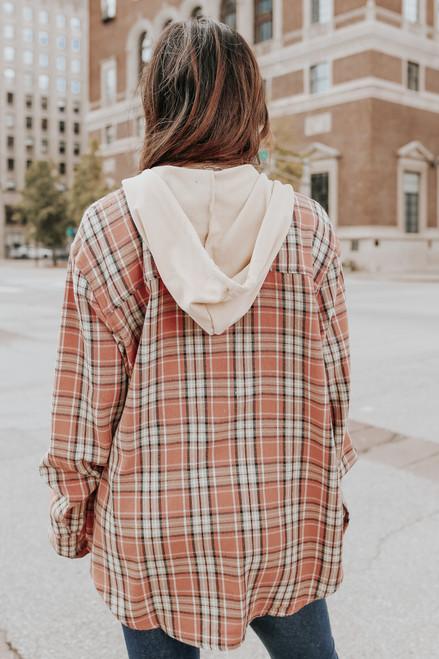 Sonoma County Peach Plaid Hooded Shirt