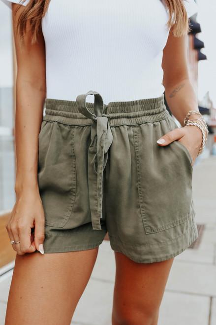 On Vacay Drawstring Olive Shorts