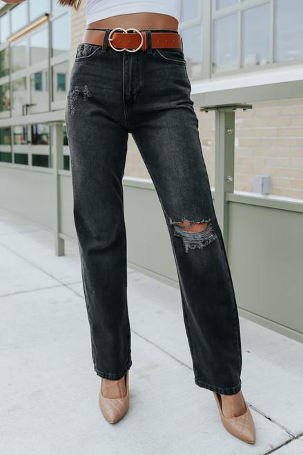 Harlie Distressed Black Straight Leg Jeans