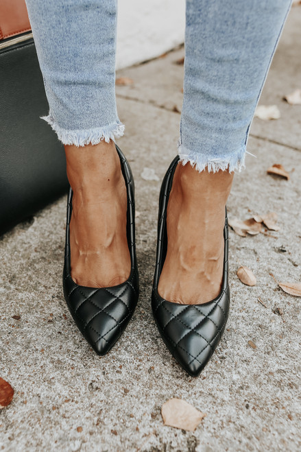 Faux Leather Black Quilted Pumps