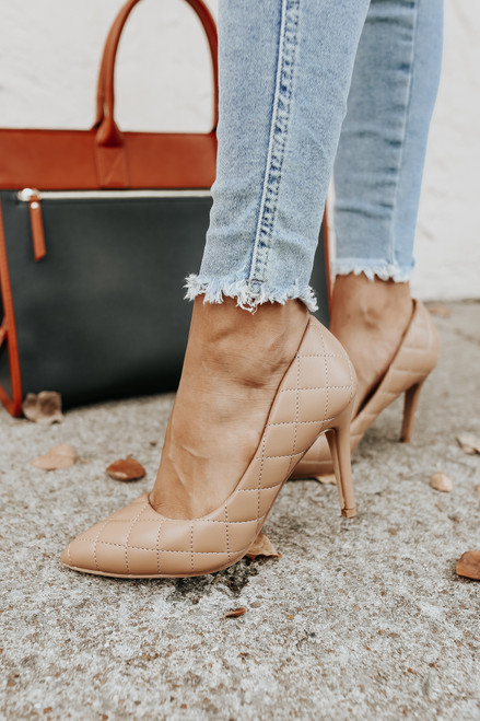 Faux Leather Camel Quilted Pumps
