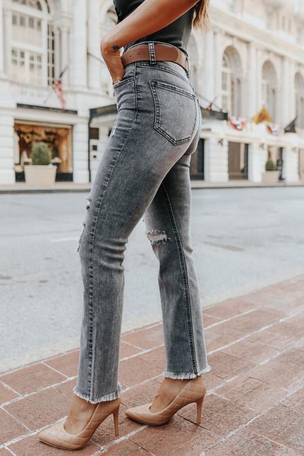 Rebel Distressed Black Straight Leg Jeans