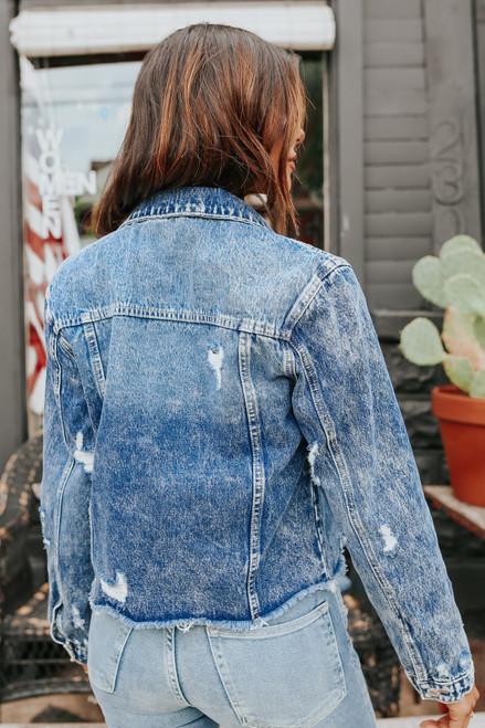 Plot Twist Medium Wash Distressed Denim Jacket