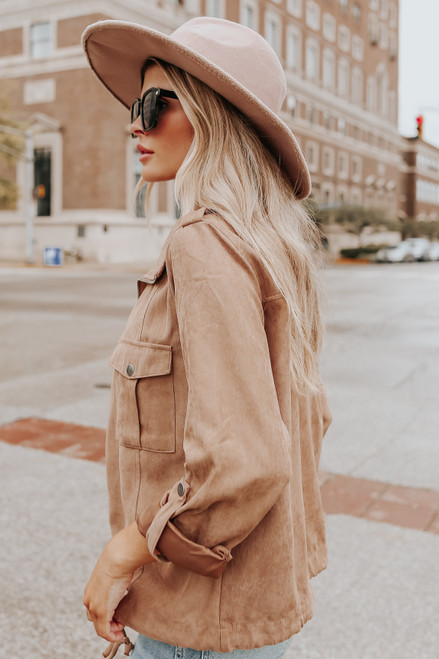 Roll Tab Peach Skin Camel Jacket