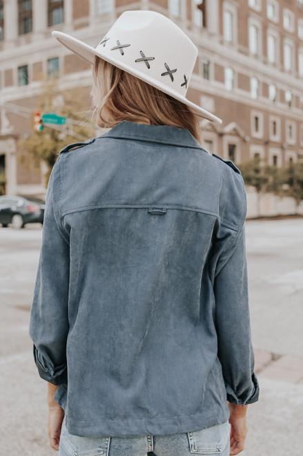 Roll Tab Peach Skin Dusty Teal Jacket