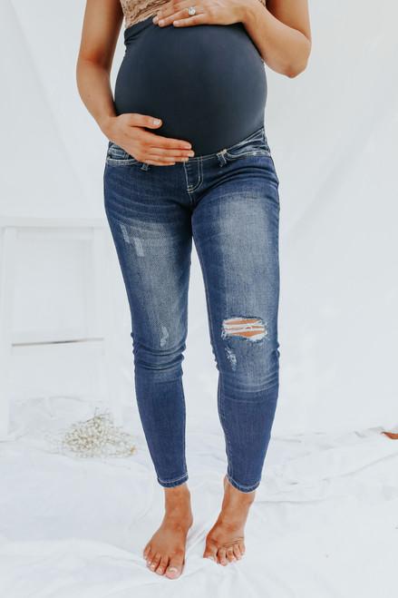 Maternity Medium Wash Distressed Skinny Jeans