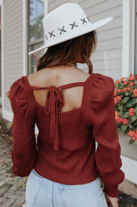 Square Neck Puff Sleeve Brick Sweater