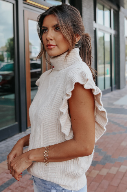 Ruffle Sleeve Turtleneck Natural Cable Sweater