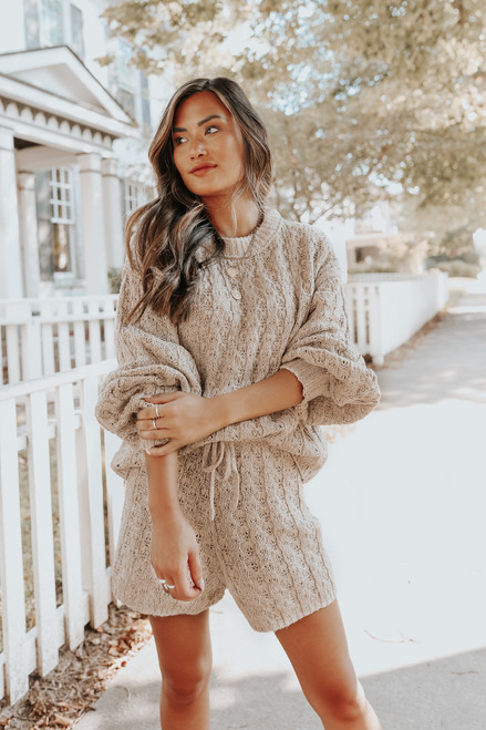 Coffeehouse Taupe Cable Ribbed Lounge Set
