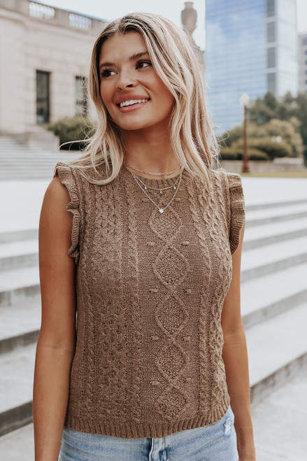 Sleeveless Textured Cable Chestnut Sweater