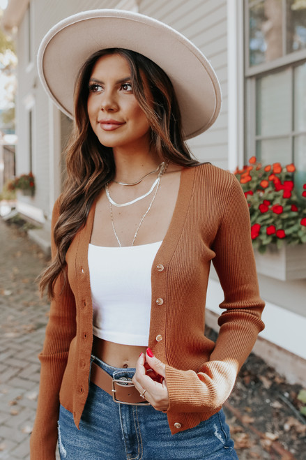 Late Flight Button Down Copper Ribbed Cardigan