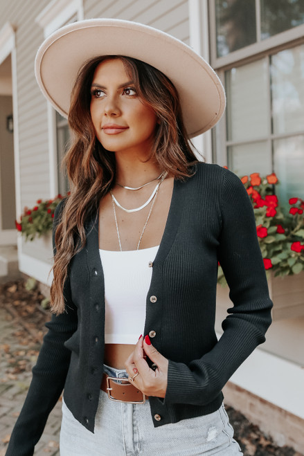 Late Flight Button Down Black Ribbed Cardigan