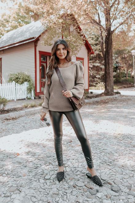 Puff Sleeve Taupe Grey Sweater